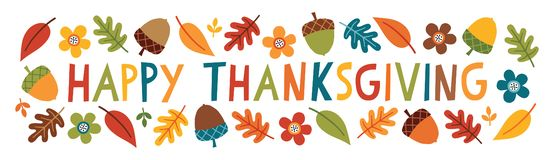 Free Cute Happy Thanksgiving Text Web Banner Leaves Acorns Flowers Stock Photos - 158496913