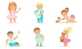 Free Cute Happy Toddler Babies Set, Adorable Cheerful Boys And Girls Learning To Walk, Crawling, Playing With Toys Vector Stock Photo - 160172880