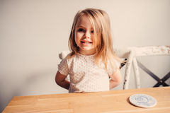 Cute happy toddler girl portrait at home Stock Image
