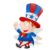 Cute Happy Uncle Sam. Cute Happy Cartoon Uncle Sam Kid Character Expression Vector Illustration Stock Images