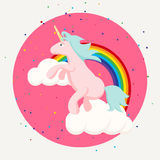Cute happy unicorn and rainbow clouds tshirt design. Royalty Free Stock Photography