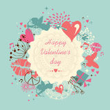 Cute Happy Valentine`s day greeting card Stock Image