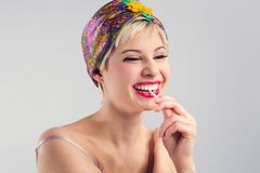 Cute and happy vintage girl with lollipop Stock Photo