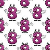 Cute happy waving number 8 seamless pattern Stock Photography