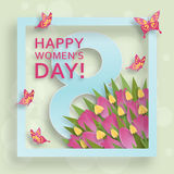 Cute Happy Womens Day background in paper art style. Vector illustration. Cute Happy Womens Day background in paper art style Vector Illustration