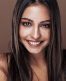 Cute happy young indian woman in studio close up happy smiling, fashion mulatto adorable smile, lifestyle people concept Royalty Free Stock Image