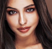 Cute happy young indian woman in studio close up happy smiling, fashion mulatto adorable smile, lifestyle people concept Stock Images