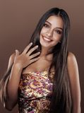 Cute happy young indian woman in studio close up Stock Photography
