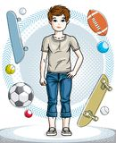 Cute happy young teen boy posing wearing fashionable casual clot Royalty Free Stock Images