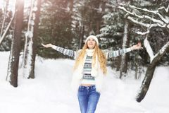 Cute young woman in wintertime outdoor Stock Image