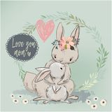 Cute hare with child. Vector illustration Stock Photography