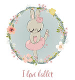 Cute Hare with Floral Wreath Royalty Free Stock Photos