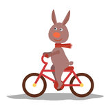 Cute hare with scarf on transport. Vector Royalty Free Stock Photo