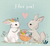 Cute hares couple. Kossing. vector illustration stock illustration