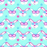 Cute hares with glasses child seamless,  pattern. Cute hares with glasses child seamless  pattern Royalty Free Stock Photo