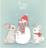 Cute hares with snowman royalty free illustration