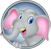 Cute head elephant cartoon Royalty Free Stock Photos