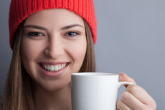 Cute healthy girl is drinking tasty coffee Stock Photography