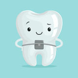 Cute healthy orthodontic cartoon tooth character, childrens dentistry concept vector Illustration Royalty Free Stock Photo