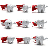 Cute healthy superhero tooth with hands shows thumbs up Stock Photo