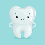 Cute healthy white cartoon tooth character, childrens dentistry concept vector Illustration. On a light blue background vector illustration