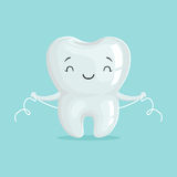 Cute healthy white cartoon tooth character cleaning itself with dental floss, oral dental hygiene, childrens dentistry. Concept vector Illustration on a light Royalty Free Stock Images