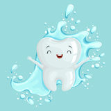 Cute healthy white cartoon tooth character with mouthwash, oral dental hygiene, childrens dentistry concept vector royalty free illustration