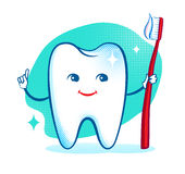 Cute healthy white shiny tooth character Stock Photos