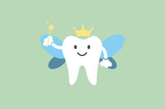 Cute healthy white teeth is tooth fairy stock illustration