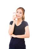 Cute healthy woman holding glass of milk Royalty Free Stock Photography