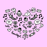 Cute heart. Made of romantic elements stock illustration