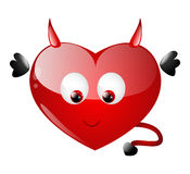 Cute heart. Character with daemon wings Royalty Free Stock Photography