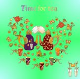 Cute heart from cartoon teapots, cups, birds, butterflies and flowers Royalty Free Stock Photo