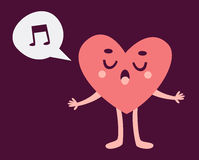 Cute Heart Character Singing Stock Image