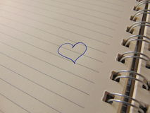 Cute heart drawn in notebook Stock Photo