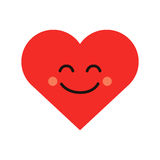 Cute heart emoji. Smiling face icon Stock Images