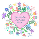 Cute heart with floral background and plate with empty space for text. Royalty Free Stock Photography