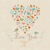 Cute heart with flowers. And birds in cartoon style Royalty Free Stock Photo