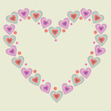 Cute heart frame. Big heart shape comprised by smaller ones Stock Images