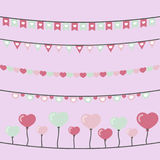 Cute Heart garlands Stock Photography
