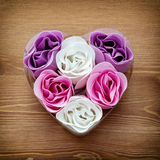 Cute heart made of fabric flowers Royalty Free Stock Photo