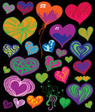 Cute Heart Set. Colorful Cute Heart Set on black background Stock Photos