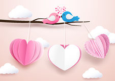 Cute heart shape mobile hanging with branches and Couple birds Royalty Free Stock Photo