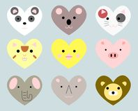 Cute heart shaped animals set.  stock illustration