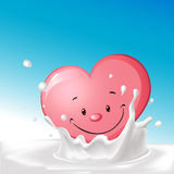Cute heart in splash milk illustration - vector Royalty Free Stock Image