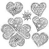 Cute heart Valentin doodle set Stock Photo