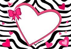 Cute Heart Zebra Frame Stock Image
