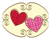 Cute hearts. Two cute hearts over sign ornament. vector illustration Stock Photos