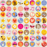 Cute hearts birds flowers mushrooms nature pattern Stock Photo