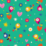 Cute hearts birds flowers seamless pattern Stock Photography